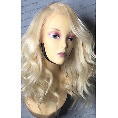 povoljno Perike i ekstenzije-Remy kosa Lace Front Perika Bob frizura Srednji dio Stražnji dio šašav stil Brazilska kosa Valovita kosa Plavuša Perika 130% Gustoća kose s dječjom kosom Prirodna linija za kosu Afro-američka perika