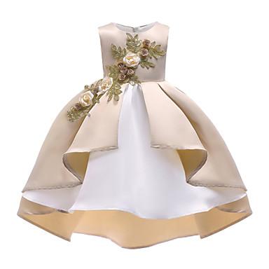 baratos Vestidos para Meninas-Infantil Para Meninas Vintage Activo Natal Festa Feriado Sólido Floral Franzido Com Transparência Sem Manga Assimétrico Vestido Bege