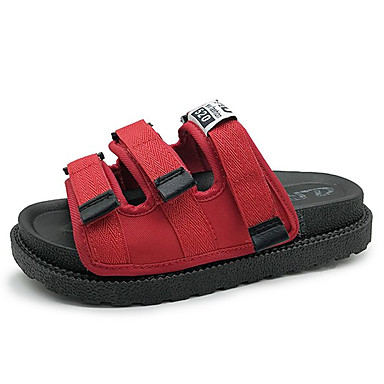 Women's Comfort Shoes PU(Polyurethane) Summer Sandals Sandals Summer Creepers Round Toe Black / Red 7e819b