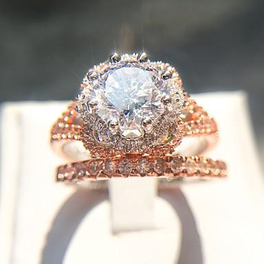 billige Motering-Dame Ring / Ring Set 2pcs Rose Gull Kobber / Gullplatert rose / Fuskediamant damer / Romantikk / Mote Fest / Stevnemøte Kostyme smykker
