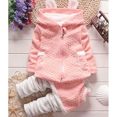 povoljno Beba & Djeca-Dijete Djevojčice Osnovni Dnevno Jednobojni / Print Dugih rukava Regularna Pamuk Komplet odjeće Blushing Pink / Dijete koje je tek prohodalo