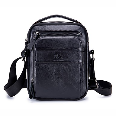 cheap Crossbody Bags-Men's Bags Cowhide Shoulder Bag Zipper Solid Color Black