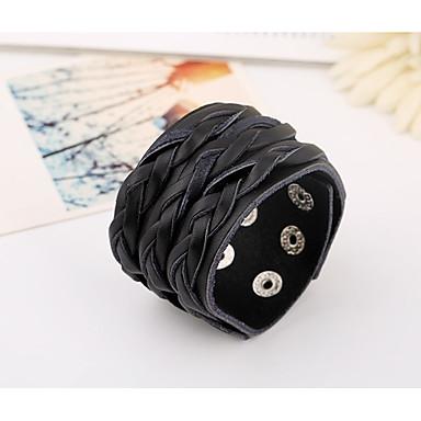 voordelige Herensieraden-Heren Lederen armbanden loom Bracelet Vintagestijl Gevlochten aar Stijlvol Vintage Punk Leder Armband sieraden Zwart Voor Dagelijks Straat
