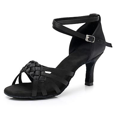 Femme Chaussures Latines Satin Satin Satin Talon Mince haut talon Personnalisables Chaussures de danse Noir f57823