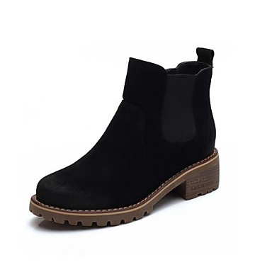 00ae9c26ee4 Women s Bootie Suede   Cowhide Fall Boots Block Heel Pointed Toe Booties   Ankle  Boots Satin