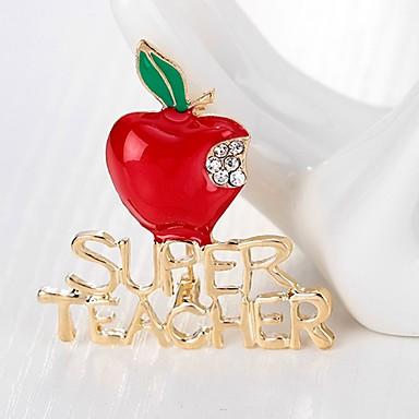 baratos Bijuteria de Mulher-Mulheres Broches Clássico Apple senhoras Simples Básico Strass Broche Jóias Dourado Para Natal