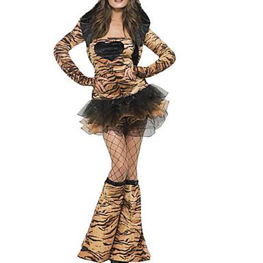Kissa Mekot Aikuisten Naisten Seksikäs Halloween Halloween Karnevaali Masquerade Festivaali / loma Plyysi Ruskea Nainen Karnevaalipuvut Leopardikuvio
