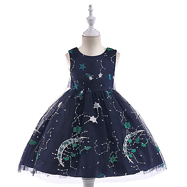15ef433f4a5788 Kids Girls' Vintage Active Party Holiday Galaxy Sleeveless Knee-length  Dress Black