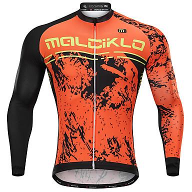 Malciklo Men s Long Sleeve Cycling Jersey - Orange Cartoon Bike Jersey  Breathable Quick Dry Anatomic Design 6a92e8a21