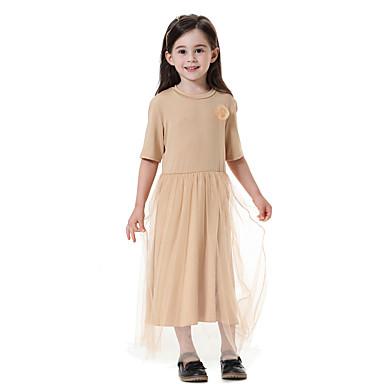 baratos Vestidos para Meninas-Infantil Para Meninas Boho Diário Sólido Meia Manga Longo Vestido Vermelho