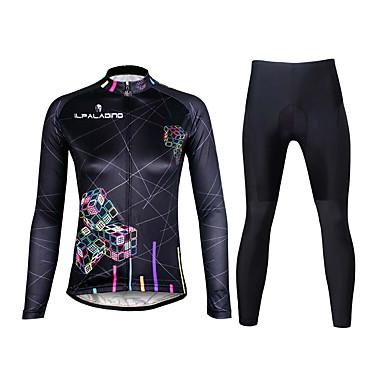 ILPALADINO Dame Langærmet Cykeltrøje og tights - Sort Cykel Tøjsæt, 3D Måtte, Hurtigtørrende, Ultraviolet Resistent, Åndbart, Refleksbånd Lycra Linjeret / bølget / Elastisk