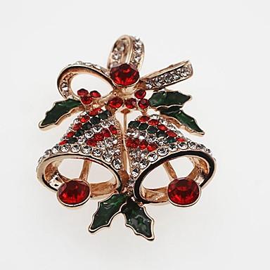 voordelige Dames Sieraden-Dames Broches Klassiek Bel Dames Eenvoudig Klassiek Strass Broche Sieraden Goud Zilver Voor Kerstmis
