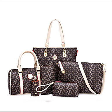 94dbd7a611 Γυναικεία Τσάντες PU Σετ τσάντα 6 σελ. Σετ πορτοφολιών Σχέδιο   Στάμπα  Φλοράλ Βυσσινί   Καφέ   Ουρανί