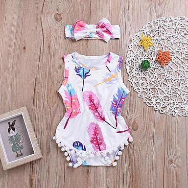 0d55aba96ef 2pcs Baby Girls  Active   Boho Daily   Holiday Print Print Sleeveless  Polyester Bodysuit White   Toddler