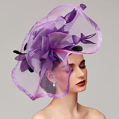 billige Hodeplagg til fest-Fjær / Nett Kentucky Derby Hat / fascinators / Hodeplagg med Fjær / Blomster / Blomst 1pc Bryllup / Spesiell Leilighet Hodeplagg