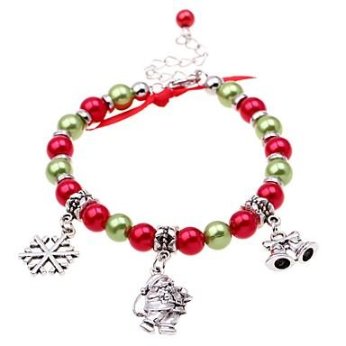 abordables Bracelet-Bracelet à Perles Bracelet Pendentif Femme Perles Imitation de perle Costumes de père noël Flocon de Neige dames Classique Mode Bracelet Bijoux Rouge Irrégulier pour Noël Plein Air