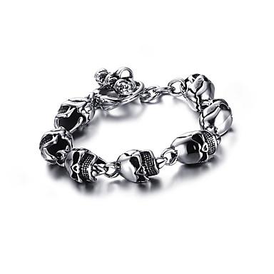 voordelige Herensieraden-Heren Vintage Armbanden Schakelketting Schedel Punk Europees Titanium Staal Armband sieraden Zilver Voor Straat / Platina Verguld