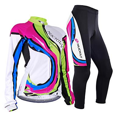 Nuckily Damen Langarm Fahrradtrikots mit Fahrradhosen - Camouflage Regenbogen Fahhrad Trikot / Radtrikot / Kleidungs-Sets, Windundurchlässig, Anatomisches Design, Atmungsaktiv, Reflexstreiffen