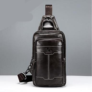79d623c07361 Men s Bags Cowhide Sling Shoulder Bag Zipper Coffee   Brown 6913574 ...