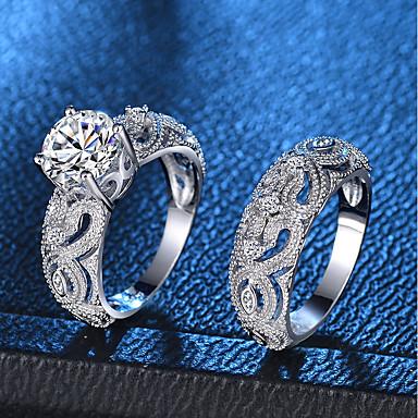 billige Motering-Dame Ring / Ring Set / Micro Pave Ring 2pcs Sølv Kobber / Platin Belagt / Fuskediamant damer / Romantikk / Mote Fest / Stevnemøte Kostyme smykker / Hjerte