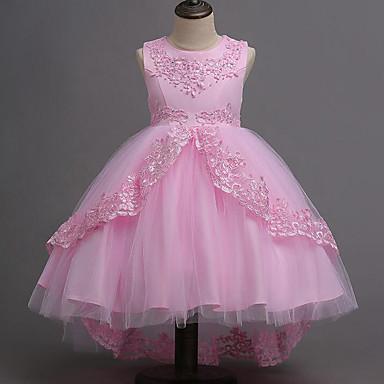 رخيصةأون ملابس الأميرات-فستان بدون كم شريطة / شبكة / بقع بقع مناسب للحفلات حلو للفتيات أطفال