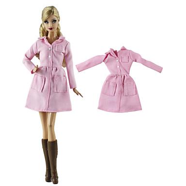 voordelige Poppenaccessoires-Pop Outfit Pop jas Jasje / jack Voor Barbie Roze Geweven stof Doek Katoenen Doek Jas Voor voor meisjes Speelgoedpop
