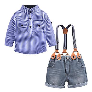 baratos Conjuntos para Meninos-Infantil Bébé Para Meninos Moda de Rua Escola Aniversário Houndstooth Manga Longa Padrão Padrão Algodão Conjunto Azul