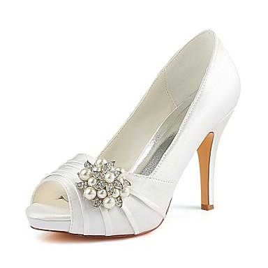 fa9438fe59d Women's Pumps Satin Spring & Summer Wedding Shoes Stiletto Heel Peep ...