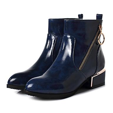 povoljno Ženske čizme-Žene PU Jesen zima Ležerne prilike Čizme Niska potpetica Okrugli Toe Čizme gležnjače / do gležnja Crn / Plava / Burgundac / Leopard