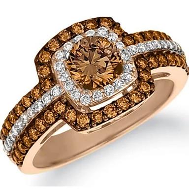 billige Motering-Dame Ring Citrin 1pc Lysebrun Kobber Strass Rund Geometrisk Form damer Stilfull Luksus Bryllup Gave Smykker Multi Layer Rund HALO