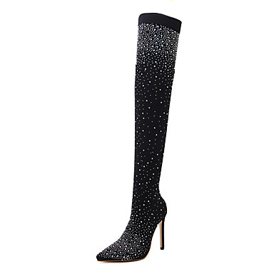 a569d3dc75f Women s Fashion Boots PU(Polyurethane) Fall   Winter Sweet Boots Stiletto  Heel Pointed Toe Thigh-high Boots Rhinestone Black 6987274 2019 –  39.99