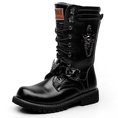 Men's Fashion Boots Synthetics Fall & Winter Casual / British Boots Warm Mid-Calf Boots Black / Party & Evening