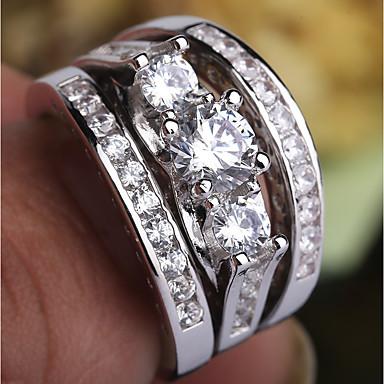 billige Motering-Dame Ring / Ring Set / Midiringe Kubisk Zirkonium 3pcs Sølv Kobber / Platin Belagt / Fuskediamant Fire tenger damer / trendy / Romantikk Fest / Stevnemøte Kostyme smykker