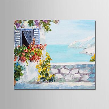 Hang oslikana uljanim bojama Ručno oslikana - Pejzaž Moderna Uključi Unutarnji okvir / Prošireni platno