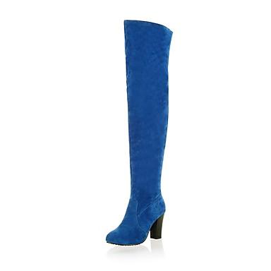 Dame Fashion Boots PU Vinter Støvler Tykk hæl Lår-høye støvler Svart / Grå / Blå