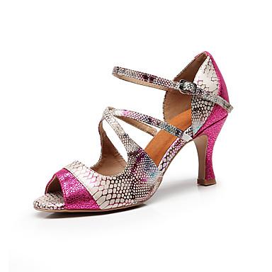 baratos Shall We® Sapatos de Dança-Mulheres Sapatos de Dança Couro Ecológico Sapatos de Dança Latina Babados Sandália Salto Alto Magro Personalizável Rosa e Branco / Ensaio / Prática