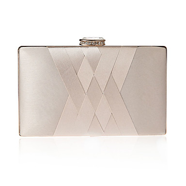 billige Vesker-Dame Krystalldetaljer polyester / Silke Aftenveske Rhinestone Crystal Evening Bags Helfarge Lilla / Mandel / Vin / Høst vinter