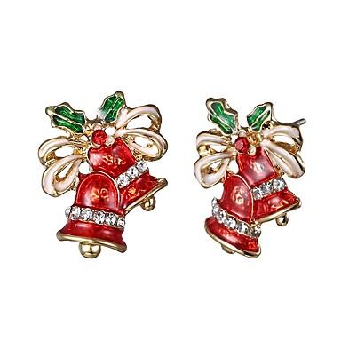 זול עגילים אופנתיים-בגדי ריקוד נשים עגילים צמודים פעמון נשים פשוט קלסי הַגזָמָה אבן נוצצת עגילים תכשיטים זהב עבור חג מולד זוג 1