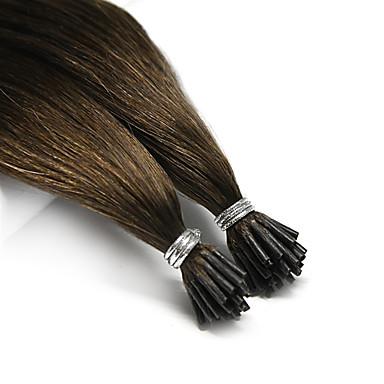 Neitsi Fusjon / I-tipp Hairextensions med menneskehår Rett Svart Brun Hairextensions med menneskehår Ekte hår Brasiliansk hår 25 Stk. Fest Dame - Platinum Blond Burgunder Rødbrun