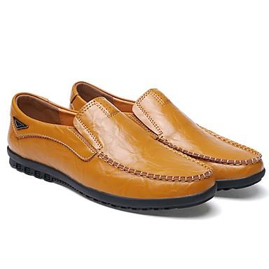 Muškarci Kožne cipele Koža Jesen zima Ležerne prilike Natikače i mokasinke Non-klizanje Crn / žuta / Braon
