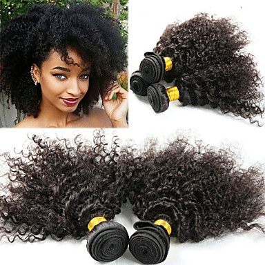 baratos Extensões de Cabelo Natural-3 pacotes Cabelo Peruviano Afro Kinky Kinky Curly 10A Cabelo Natural Remy Extensões de Cabelo Natural 8-26 polegada Natural Tramas de cabelo humano Melhor qualidade Nova chegada Venda imperdível