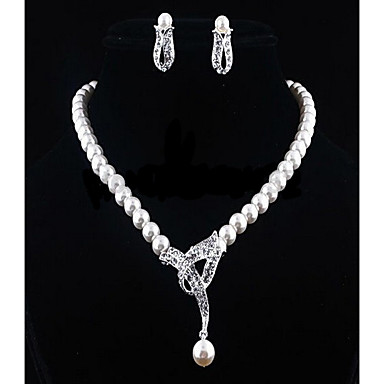 cheap Hot Pearl Jewelry Sale-Women's White Cubic Zirconia Beads Jewelry Set Pearl, Rhinestone Flower Ladies, Stylish, Romantic, Elegant, Bridal Include Drop Earrings Pearl Necklace Silver For Wedding Gift