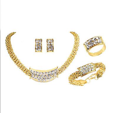 Žene Svadbeni nakit Setovi Klasičan dame Luksuz Jedinstven dizajn pomodan Umjetno drago kamenje Pozlaćeni Naušnice Jewelry Zlato Za Party Dar