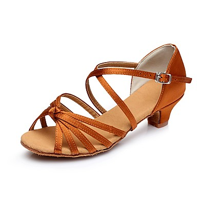 baratos Shall We® Sapatos de Dança-Mulheres Cetim Sapatos de Dança Latina Salto Salto Grosso Personalizável Marron / Vermelho / Azul / Couro / EU39