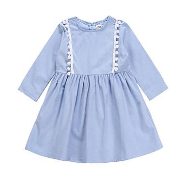 baratos Vestidos para Meninas-Bébé Para Meninas Activo Básico Diário Feriado Sólido Manga Longa Altura dos Joelhos Vestido Azul Claro / Algodão