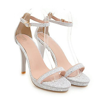 voordelige Damessandalen-Dames Comfort schoenen Canvas Lente Sandalen Naaldhak Goud / Zilver / Roze
