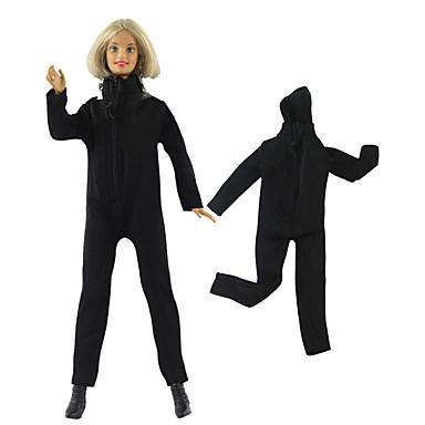 voordelige Poppenaccessoires-Pop jas Broeken Tops Voor Barbie Zwart Geweven stof Doek Katoenen Doek Catsuit Voor voor meisjes Speelgoedpop