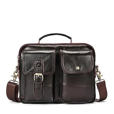 46a1c4445e τσάντες ανδρών τσάντα ώμου από δέρμα Nappa φερμουάρ σκούρο καφέ   καφέ