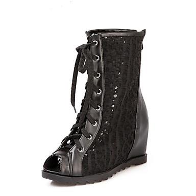 3677a38622c Dame Fashion Boots Netting Sommer Støvler Flat hæl Åpen Tå Ankelstøvler  Hvit / Svart
