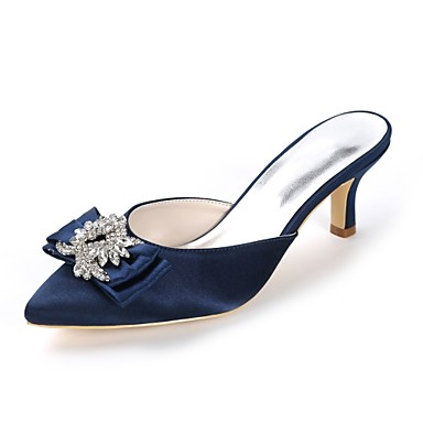 Women s Slingback Satin Spring   Summer Sweet Wedding Shoes Kitten Heel  Pointed Toe Rhinestone   Bowknot Dark Purple   Champagne   Ivory   Party    Evening 5b5e365100bd